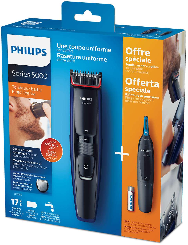 ماشین اصلاح فلیپس مخصوص صورت مدل BT-5190/85 یک ماشین ریش تراش با قیمت مناسب و کارایی فوق العاده می باشد که شما میتوانید براحتی برای اصلاح ریش های بلند هم استفاده نمایید.